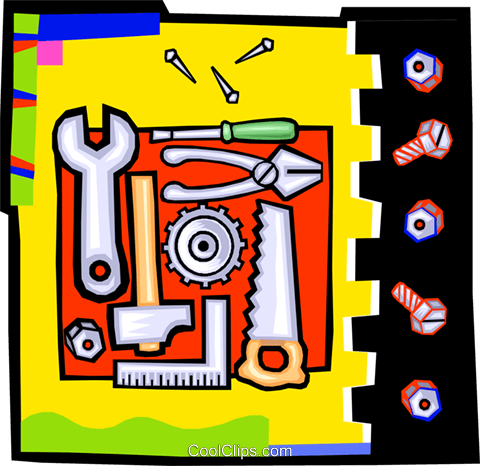 wrenches and tools Royalty Free Vector Clip Art illustration vc010614