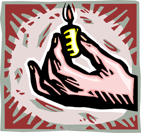 hand with a candle Royalty Free Vector Clip Art illustration vc010621