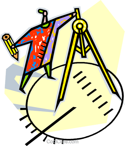 man with a compass drawing a circle Royalty Free Vector Clip Art illustration vc010630