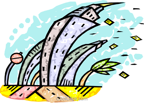 strong winds causing havoc Royalty Free Vector Clip Art illustration vc010640