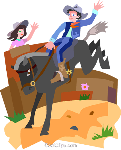 cowboy Royalty Free Vector Clip Art illustration vc010718