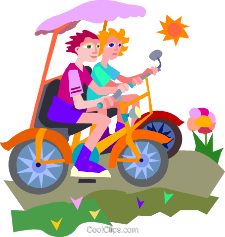 Couple riding bicycles Royalty Free Vector Clip Art illustration vc010722
