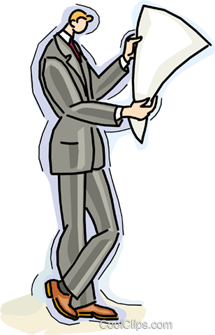 man reading newspaper Royalty Free Vector Clip Art illustration vc010740