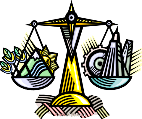 scales weighing  ecological concerns Royalty Free Vector Clip Art illustration vc010749