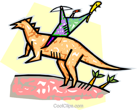 ancient man symbol riding a dinosaur Royalty Free Vector Clip Art illustration vc010755
