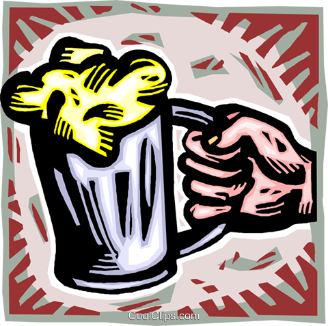 hand with a mug of beer Royalty Free Vector Clip Art illustration vc010757