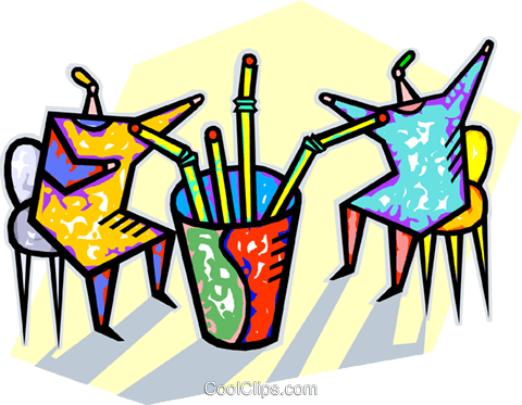 two people drinking from straws Royalty Free Vector Clip Art illustration vc010761