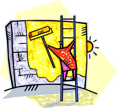 man painting a brick wall gold Royalty Free Vector Clip Art ...
