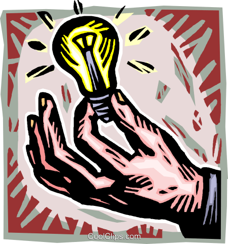 hand with light bulb Royalty Free Vector Clip Art illustration vc010774