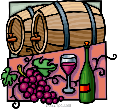 wine barrels with grapes and wine bottle Royalty Free Vector Clip Art illustration vc010775