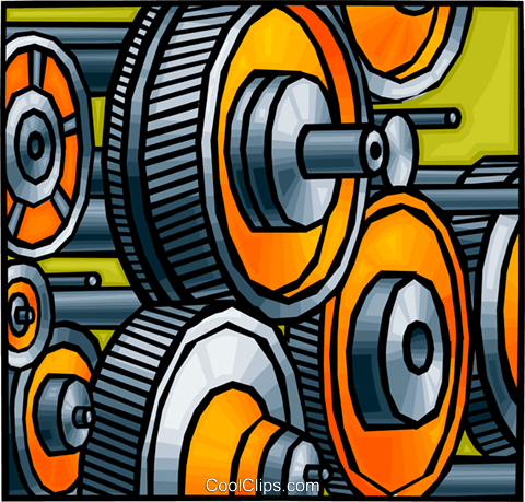 Gears in factory Royalty Free Vector Clip Art illustration vc010777