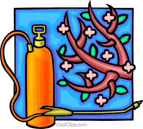 insecticide spray with fruit tree Royalty Free Vector Clip Art illustration vc010781