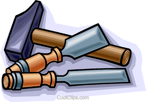 wood chisels with hammer Royalty Free Vector Clip Art illustration vc010782
