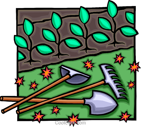 garden tools with seedlings Royalty Free Vector Clip Art illustration vc010783