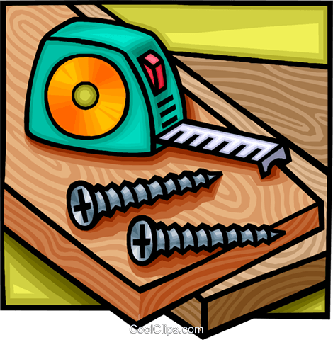 Tape measure with wood screws Royalty Free Vector Clip Art illustration vc010784