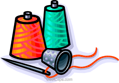thimble with thread and needle Royalty Free Vector Clip Art illustration vc010787