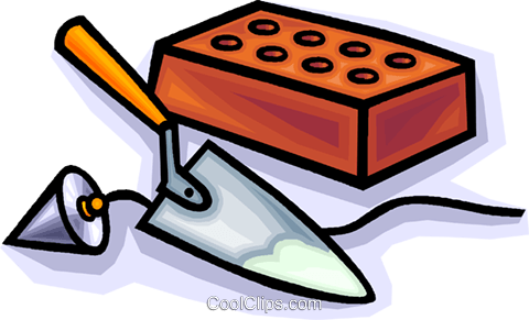 brick with trowels Royalty Free Vector Clip Art illustration vc010789