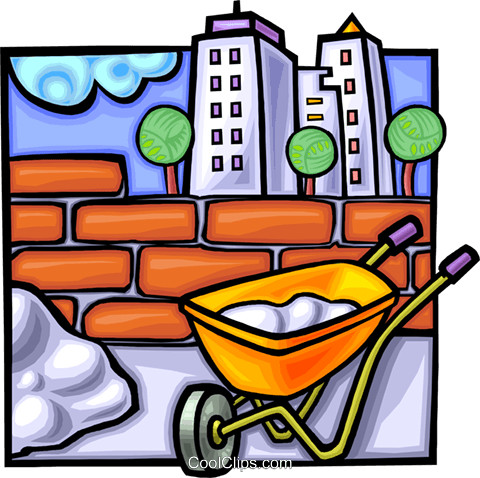 Wheelbarrow with brick wall Royalty Free Vector Clip Art illustration vc010790