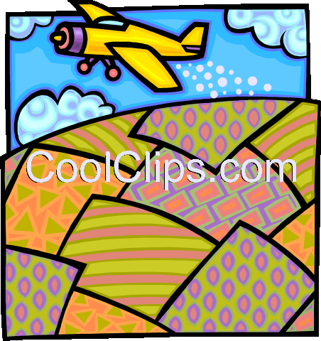airplane crop dusting Royalty Free Vector Clip Art illustration vc010792
