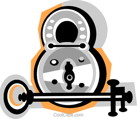 lock and key Royalty Free Vector Clip Art illustration vc010853