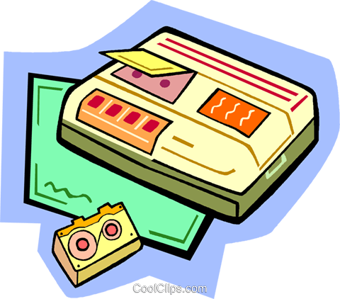 audio cassette tape player Royalty Free Vector Clip Art illustration vc010942