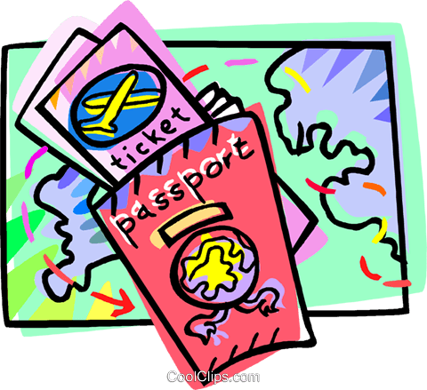 Passport and travel tickets Royalty Free Vector Clip Art illustration vc010960
