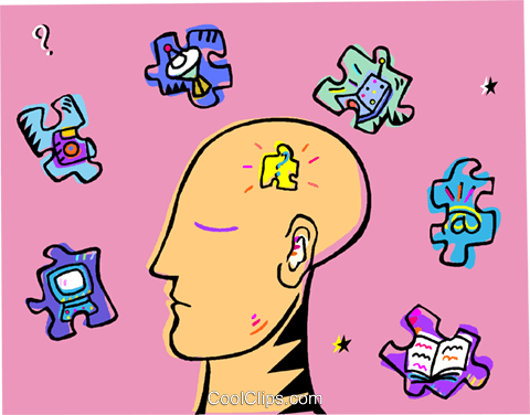 human head, puzzle Royalty Free Vector Clip Art illustration vc010964