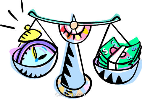 scales balancing time and money Royalty Free Vector Clip Art illustration vc010970