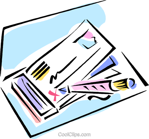 writing a check Royalty Free Vector Clip Art illustration vc011015
