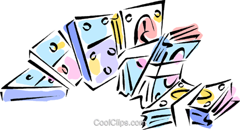money and dominoes Royalty Free Vector Clip Art illustration vc011018
