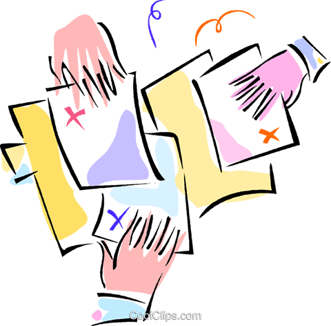 hands sharing documents Royalty Free Vector Clip Art illustration vc011024