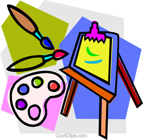 artist's easel with brushes Royalty Free Vector Clip Art illustration vc011032