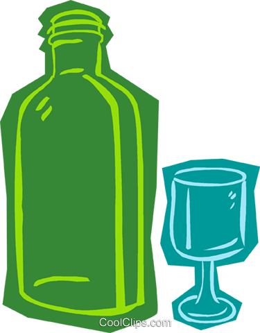 bottle with glass Royalty Free Vector Clip Art illustration vc011033