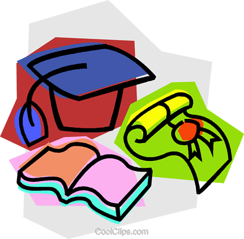 graduate's cap with book and diploma Royalty Free Vector Clip Art illustration vc011037
