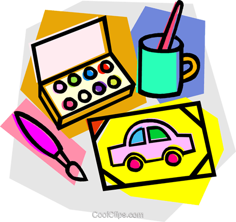 water paints with painting Royalty Free Vector Clip Art illustration vc011038