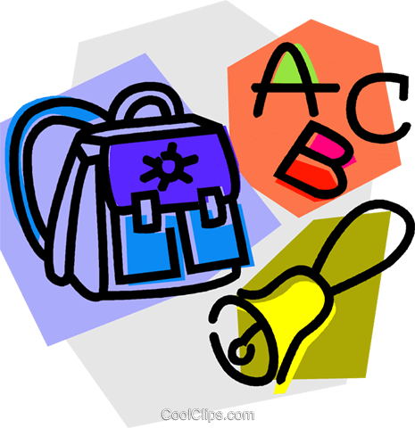 knapsack with school bell and ABC's Royalty Free Vector Clip Art illustration vc011043