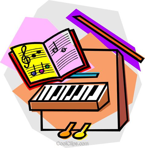 piano with music book Royalty Free Vector Clip Art illustration vc011044
