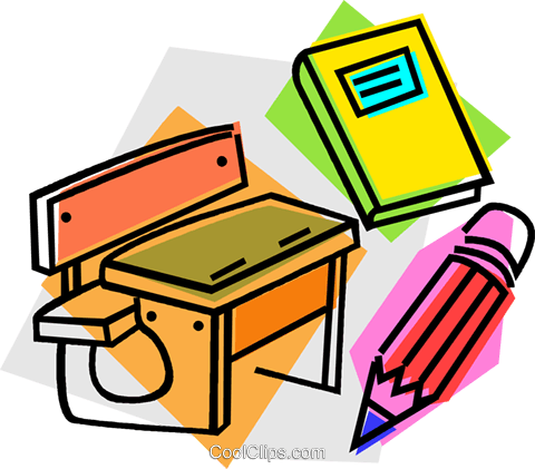 school desk with book and pencil Royalty Free Vector Clip Art illustration vc011057