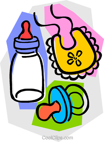 baby's bottle with soother and bib Royalty Free Vector Clip Art illustration vc011062