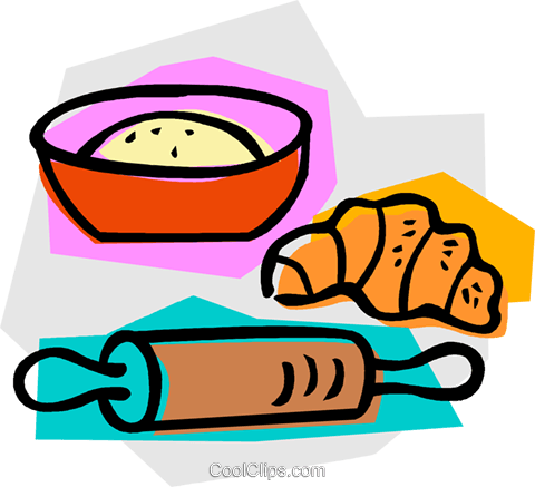 rolling pin with flour and croissant Royalty Free Vector Clip Art illustration vc011066