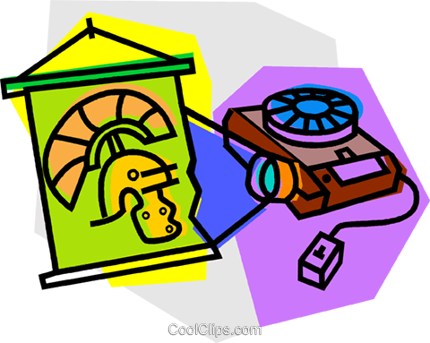 projector with slide Royalty Free Vector Clip Art illustration vc011093