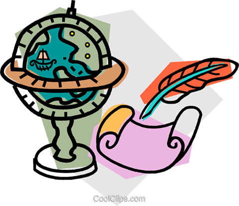 globe with feather pen and parchment Royalty Free Vector Clip Art illustration vc011105
