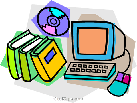 computer with books and CD Royalty Free Vector Clip Art illustration vc011118