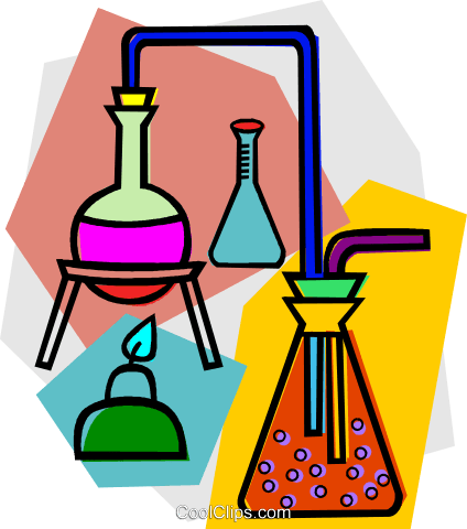 beakers and flasks Royalty Free Vector Clip Art illustration vc011146