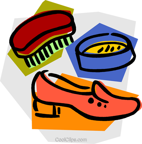 shoe with polish and brush Royalty Free Vector Clip Art illustration vc011149