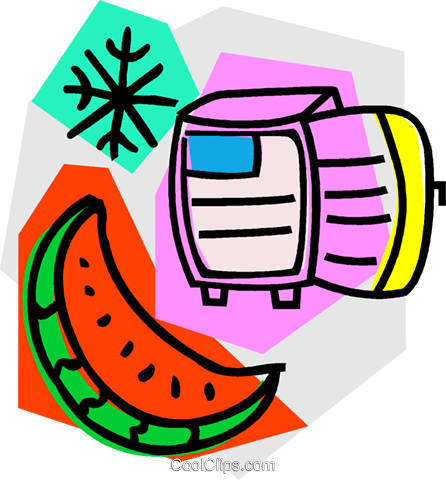 watermelon with refrigerator Royalty Free Vector Clip Art illustration vc011151