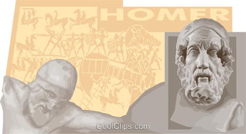 Homer, Greek Poet Royalty Free Vector Clip Art illustration vc011157
