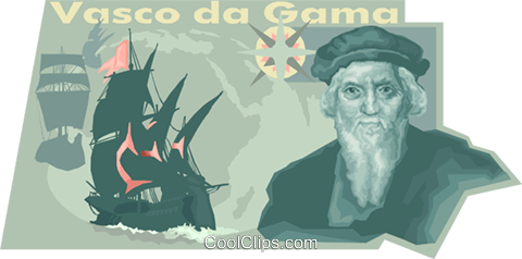 Gama, Vasco da, Portuguese navigator Royalty Free Vector Clip Art illustration vc011158