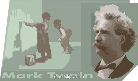 Mark Twain Royalty Free Vector Clip Art illustration vc011161