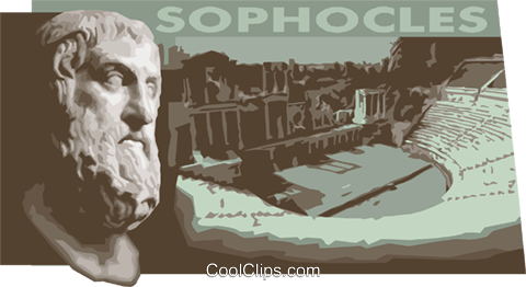 Sophocles Greek tragic poet Royalty Free Vector Clip Art illustration vc011165